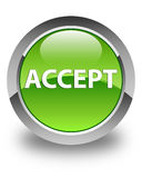 Accept glossy green round button Stock Photo
