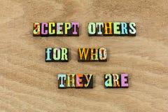 Accept others appreciation kindness gratitude acceptance live life. Teamwork team work hard partner help be kind goodness honesty trust learn wisdom royalty free stock photo