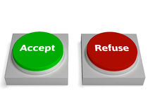 Accept Refuse Buttons Shows Accepted Or Refused Royalty Free Stock Photography