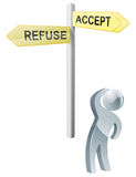 Accept or refuse choice Royalty Free Stock Photography