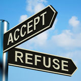 Accept Or Refuse Directions On A Signpost Stock Images