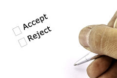 Accept and reject Check box Royalty Free Stock Photos