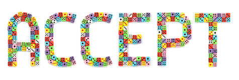 Accept sign, made of colorful dices Stock Images