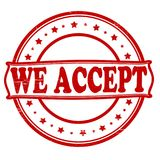 We accept. Stamp with text we accept inside,  illustration Stock Photos