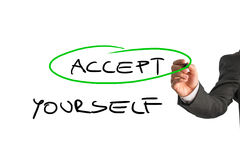 Accept yourself message. Professional therapist writing an Accept yourself message on a white virtual screen. Conceptual of mental health care Stock Image