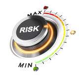 Acceptable Level of Risk. Risk level knob positioned on medium position, white background and orange light. 3D illustration concept for business security Royalty Free Stock Images