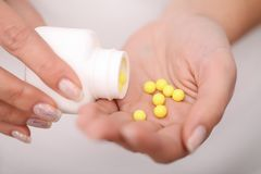 Acceptance of drugs. Self-treatment at home. Pills prescribed by your doctor. Stock Photo