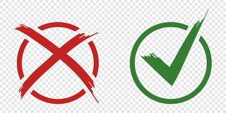 Acceptance and rejection symbol vector buttons for vote, election choice. Circle brush stroke borders. Symbolic OK and X icon isol stock illustration