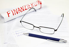 Acceptance, sign agreement. Glasses and ballpoint Stock Photo