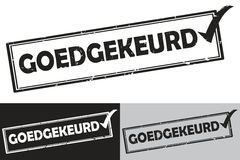 Accepted goedgekeurd - Dutch - black color grunge stamp Royalty Free Stock Photos