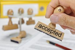 Accepted printed on rubber stamp royalty free stock image