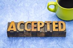 Accepted word in wood type stock photos