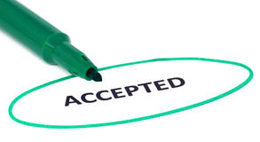 ACCEPTED written in a white paper Stock Image