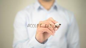 Acceptera fel, manhandstil på den genomskinliga skärmen Royaltyfri Foto