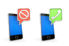 Acceptera och kassera Mobiltelefoner med tecken Royaltyfri Bild