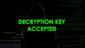 Accepterad Decryptiontangent, en hacker som finner lösenord till emailen med hemliga data royaltyfri fotografi