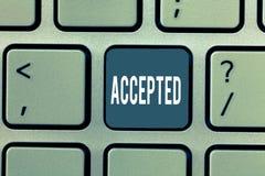 Accepterad ordhandstiltext Affärsidé för att Agree ska göra eller som ger något godkännandetillåtelsebekräftelse arkivfoto