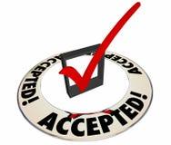 Accepterad positiv svarssvarskontroll Mark Box Ring Royaltyfria Foton