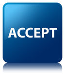Acceptez le bouton carré bleu Illustration Libre de Droits
