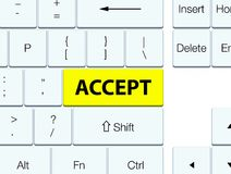 Acceptez le bouton jaune de clavier Illustration Libre de Droits