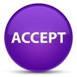 Acceptez le bouton rond pourpre spécial Photographie stock