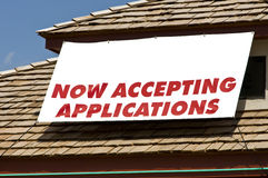 Accepting Applications Banner With Copy Space Royalty Free Stock Photos