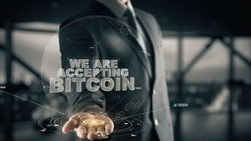 We Are Accepting Bitcoin with hologram businessman concept stock video footage
