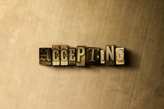 ACCEPTING - close-up of grungy vintage typeset word on metal backdrop. Royalty free stock illustration. Can be used for online banner ads and direct mail vector illustration