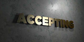 Accepting - Gold text on black background - 3D rendered royalty free stock picture. This image can be used for an online website banner ad or a print postcard vector illustration