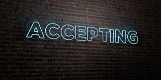 ACCEPTING -Realistic Neon Sign on Brick Wall background - 3D rendered royalty free stock image. Can be used for online banner ads and direct mailers royalty free illustration