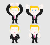 Accepting or refusing. A businessman uses gestures to show accepting and refusing stock illustration