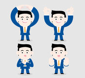 Accepting or refusing. A businessman uses gestures to show accepting and refusing royalty free illustration