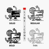 Acceso, control, supervisión, telecontrol, icono de la seguridad en línea y estilo finos, regulares, intrépidos del Glyph Ilustra ilustración del vector