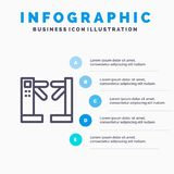 Acceso, control, torniquetes, línea subterráneo icono con el fondo del infographics de la presentación de 5 pasos stock de ilustración