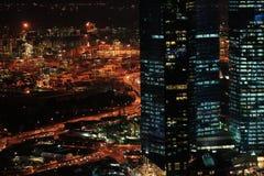 Acceso de la noche en Singapur Foto de archivo libre de regalías