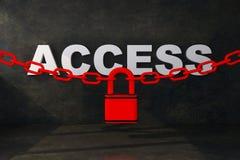 Acceso del concepto debajo de la cerradura con la cadena ilustración del vector