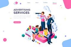 Acceso a la llamada del anuncio del homepage del cliente para hacer publicidad libre illustration