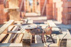 Accesories on construction site - angle cutter Royalty Free Stock Photo
