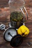 Accesorios al té de la fruta del té en estilo del vintage Foto de archivo libre de regalías
