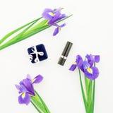 Accesorios azules del ` s de las flores y de las mujeres en el fondo blanco Endecha plana, visión superior Fotografía de archivo libre de regalías