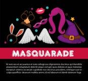 Accesorios brillantes del partido del carnaval en el cartel promocional ilustración del vector
