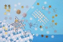 Accesorios brillantes y brillantes para el arte y el scrapbookin de la Navidad Fotos de archivo