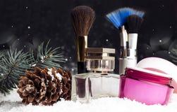 Accesorios cosméticos de la belleza del ` s de las mujeres, perfume, crema, cepillos Fotos de archivo libres de regalías