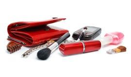 Accesorios cosméticos femeninos aislados Foto de archivo libre de regalías