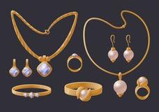 Accesorios costosos de la colección de oro de la joyería libre illustration