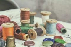 Accesorios costurera y costura Foto de archivo libre de regalías