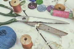 Accesorios costurera y costura Foto de archivo