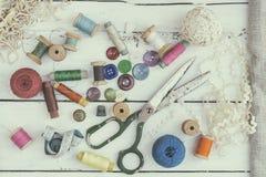 Accesorios costurera y costura Fotografía de archivo libre de regalías