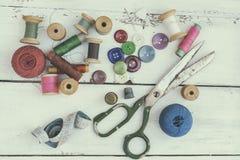 Accesorios costurera y costura Imagen de archivo