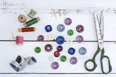 Accesorios costurera y costura Imagen de archivo libre de regalías